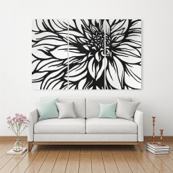 Canvas 40 x 60 - Dahlia flower outline style