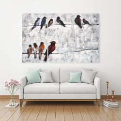 Canvas 40 x 60 - Colorful birds on branches