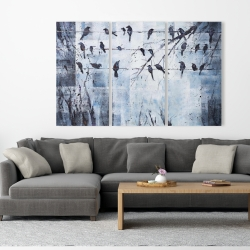Canvas 40 x 60 - Abstract birds on electric wire