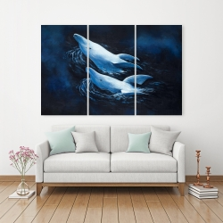 Canvas 40 x 60 - Two swimming dolphins