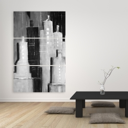 Canvas 40 x 60 - Abstract black and white cityscape