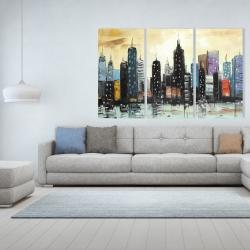 Canvas 40 x 60 - Skyline on abstract cityscape