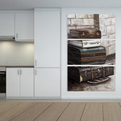Canvas 40 x 60 - Four old traveling suitcases