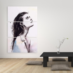 Canvas 40 x 60 - Watercolor beautiful woman with dark hair