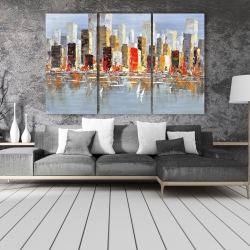 Canvas 40 x 60 - Colorful buildings with water reflection