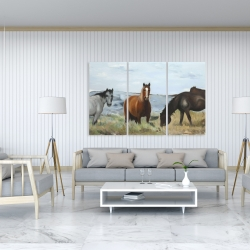Canvas 40 x 60 - Horses eating in the meadow