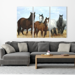 Canvas 40 x 60 - Horses in the meadow by the sun