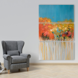 Canvas 40 x 60 - Colorful abstract small flowers