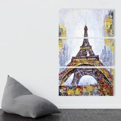Toile 40 x 60 - Tour eiffel abstraite avec éclats de peinture