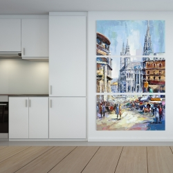 Canvas 40 x 60 - Busy street by a sunny day