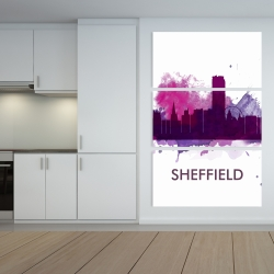 Canvas 40 x 60 - Sheffield city color splash silhouette