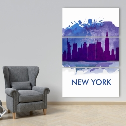Canvas 40 x 60 - Blue silhouette of new york city