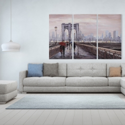 Canvas 40 x 60 - Brooklyn bridge with passersby