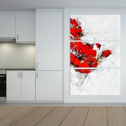 Canvas 40 x 60 - Abstract red flowers with texture