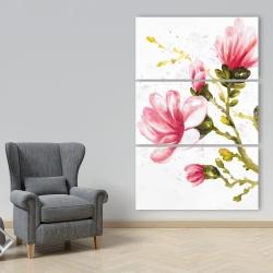 Canvas 40 x 60 - Watercolor magnolia flowers