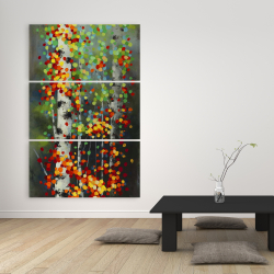 Canvas 40 x 60 - Colorful dotted leaves birches