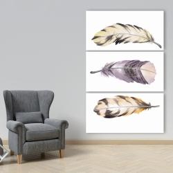 Toile 40 x 60 - Ensemble de plumes rayées horizontales