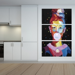 Canvas 40 x 60 - Colorful audrey hepburn portrait with bubblegum