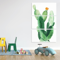Canvas 40 x 60 - Watercolor paddle cactus with flower
