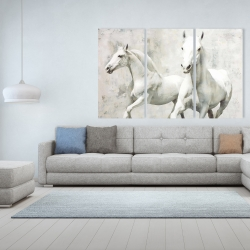 Canvas 40 x 60 - Two white horses running