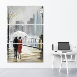 Canvas 40 x 60 - Couple walking under the rain