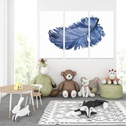 Canvas 40 x 60 - Watercolor blue feather
