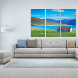 Canvas 40 x 60 - Scottish highlands with a little red roof house