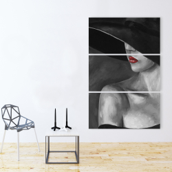 Canvas 40 x 60 - Mysterious woman with a hat