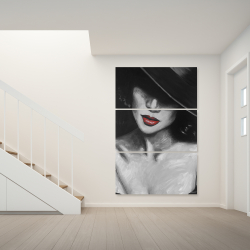 Canvas 40 x 60 - Mysterious red lips lady
