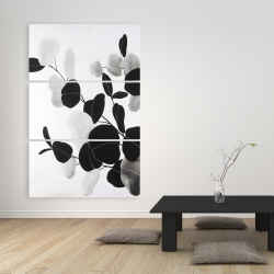 Canvas 40 x 60 - Grayscale branches with leaves
