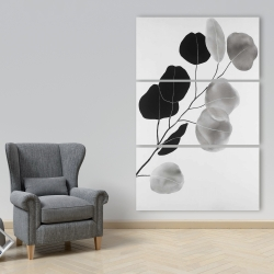 Canvas 40 x 60 - Grayscale branch with round shape leaves