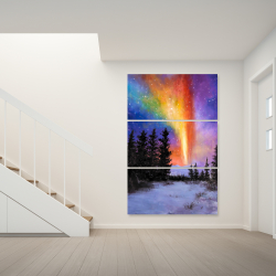 Canvas 40 x 60 - Aurora borealis in the forest