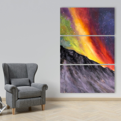 Canvas 40 x 60 - Aurora borealis in the mountain