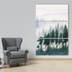 Canvas 40 x 60 - Mountains landscape in watercolor