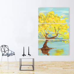 Canvas 40 x 60 - Spring lanscape with a tree in a lake