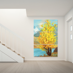 Canvas 40 x 60 - Lake landscape with a tree and reflection