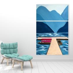 Canvas 40 x 60 - Lake, quai & mountains