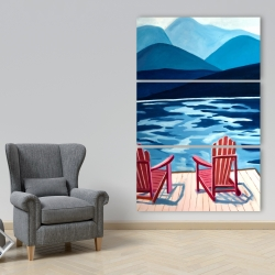 Canvas 40 x 60 - Lake, dock, mountains & chairs