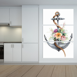 Canvas 40 x 60 - Boat anchor with flowers