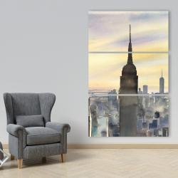 Canvas 40 x 60 - Sunset over new york city