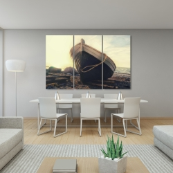 Canvas 40 x 60 - Rowboat at the water's edge