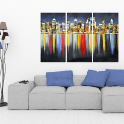 Toile 40 x 60 - Réflexion colorée d'un paysage urbain de nuit