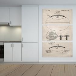 Canvas 40 x 60 - Beige blueprint of a foot ball