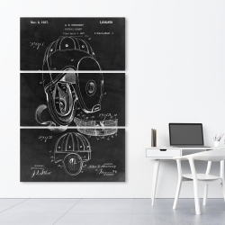 Canvas 40 x 60 - Black blueprint of a football helmet