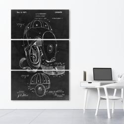 Canvas 40 x 60 - Black blueprint of a football helmet