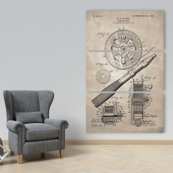 Canvas 40 x 60 - Beige blueprint of a fishing reel
