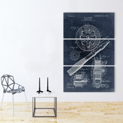 Canvas 40 x 60 - Blueprint of a fishing reel