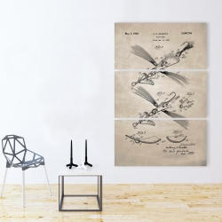 Canvas 40 x 60 - Beige blueprint of a fish lure