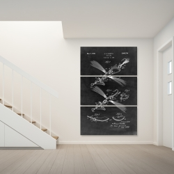 Canvas 40 x 60 - Black blueprint of a fish lure