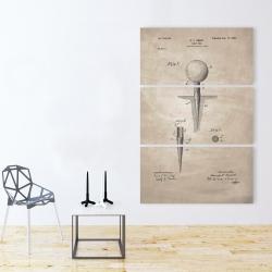 Canvas 40 x 60 - Beige blueprint of golf tee